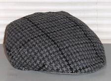 POLO RALPH LAUREN Houndstooth Lambswool Driving Hat, Flat Lid Cap, Gray, L/XL