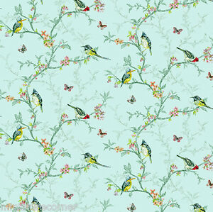 Dolls House Wallpaper 1/12th 1/24th scale Birds Duckegg  Quality Paper #324
