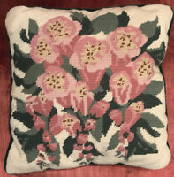 "Vintage Wool Needlepoint Pillow Pink Flowers Cottage Shabby Chic 14"" Square"