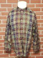 Jhane Barnes Long Sleeve Button Front Cotton Shirt Mens Large CRAZY Print EUC