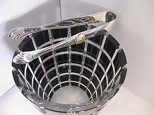 "Nib Signed Faberge 6.5"" Metropolitan Black Ice Bucket with Silver Tongs Coa"