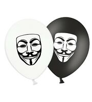 "Guy Fawkes Mask - 12"" Printed Latex Balloons Black  & White Assorted pack of 5"