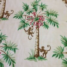 P kaufmann PALM SILHOUETTE color cream monkeys coconuts fabric pillow drapery