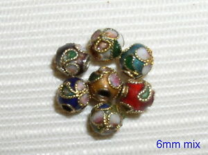 100 New 6mm Mixed Filigree Cloisonne Beads