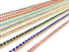 1m Diamante/Rhinestone Crystal Colour Chain Trim Lace Gold Base A Quality