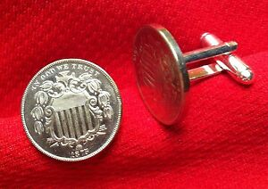 1866-1883 U.S. Shield Nickel 5 Cent Patriotic Silver Tone Coin Cufflinks + Box