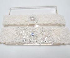 Wedding bridal garter set , Something blue Ivory Lace Garter Set