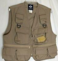 Columbia Sportswear Fly Fishing Utility Cargo Vest fish pouch Mens Beige Sz L