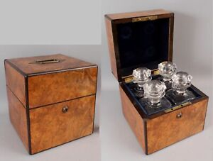 Antique 4 Cut Polished Crystal Decanter Liquor Bottles, Burl Wood Tantalus Box