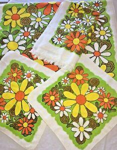 Vtg Mod Flower Power Towel Set Bath Hand Washcloth NWT Yellow Orange 1960s