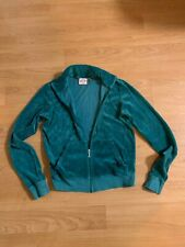 Womens Juicy Couture Velour Zip Up Track Jacket Size Large GREEN