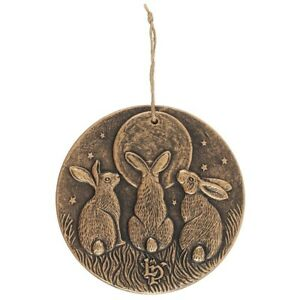 NEW Bronze Effect Moon Shadows Hare Hanging Plaque 20 cm Dia Lisa Parker Myth
