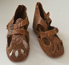 PAIR OF VERY FINE TINY ANTIQUE BABY SANDALS W/ REPTILE SURFACE DOLLSCALE RR998