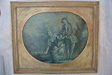"""18th CENTURY FRENCH BLUE GRISAILLE PAINTING. OIL ON CANVAS BOARD. 25"""" x 20""""."""