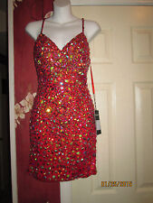 Vienna Genuine New Red short beaded prom dress with Spaghetti Straps size 2