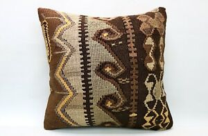 Ethnic Kilim Pillow, 20x20 in, Decorative Throw Cushion, Handmade Vintage Pillow