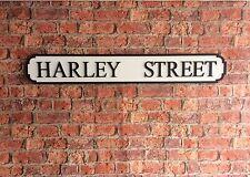 Vintage Wood Street Road Sign HARLEY STREET