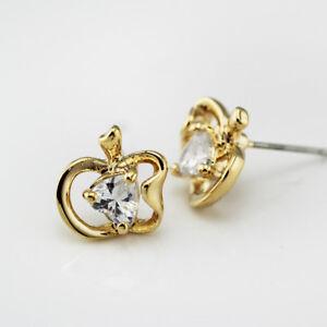 Women Girls Fashion Jewelry 18K Gold Plated Cute Crystal Apple Stud Earrings