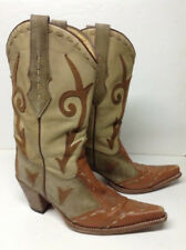 Women's Sendra 7035 Tan/Brown Leather Pull On Stitched Leather Cowboy Boots Sz 9