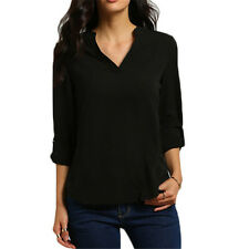 Plus Size Womens Chiffon Top Loose V Neck Casual T-shirt 3/4 Sleeve Blouse Shirt