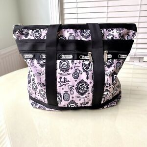 """Le Sportsac Tote, Pink French Design, 17.5"""" X 15"""", Rare Pattern, Large Capacity"""