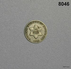 1852 3 CENT SILVER VERY FINE! TRIMES! #8046