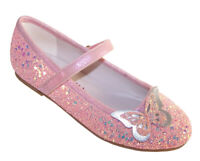Girls Kids Pink Peach Glitter Sparkly Ballerina Flat Party Shoes Dressing Up