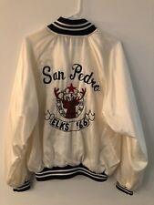 Vintage San Pedro Elks Club Xl Men's Satin Jacket Customized Beautiful White Vtg