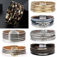 Fashion Boho Multilayer Leather Bracelet Magnetic Clasp Bangle Crystal Wristband