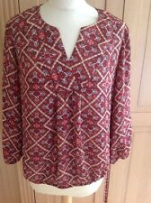 LOVELY LAUNDRY BY SHELLI SEGAL RED & BEIGE PATTERNED TOP UK 12 BNWT RRP $79