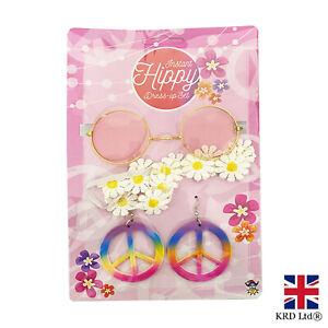 Hippie Fancy Dress Up Set 60-70s Costume Accessory Headband Earrings GlassesH146