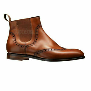 Handmade Women's Leather Fashion Brown Oxford Brogue Wingtip Chelsea Boots-604