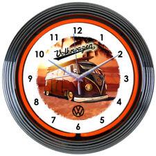 """VOLKSWAGEN VW BUS Logo Red 15"""" Neon Clock 8VWBUS New Neonetics Man Cave LOOK"""