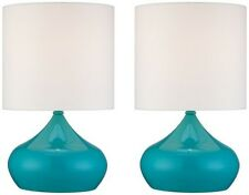 Droplet Modern Table Lamps Decorative Pair Blue Small Accent Lights Set Of 2 New