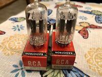 Closely Matched Pair of RCA 12AU7A ECC82 NOS NIB Clear Top 1967 Vacuum Tubes