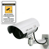 Cartello+Telecamera sorveglianza falsa fake finta  security camera LED sicurezza