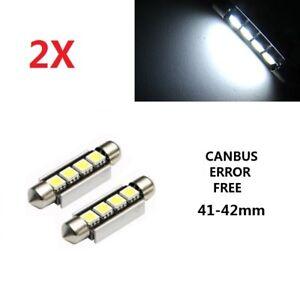 2 X 42mm Car Bulbs C5W Festoon LED 4 5050 SMD Interior Lights Error Free Canbus