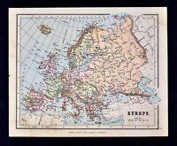 1889 Hughes Map - Europe - Spain Italy Germany Britain France Austria Russia EU