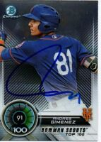 Andres Gimenez New York Mets 2018 Bowman Top 100 Signed Card