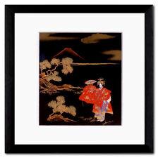 Hagoromo immagine giapponese Maki-e no-Teatro PASSEPARTOUT LEGNO MASSICCIO quadro 20 x 20