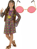 Hippy Hippie Peace Love Girl Kids 60s 70s Fancy Dress Costume Outfit + Glasses