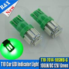 LED 2x T10 Green 10 SMD 7014 for Car Side Lights Wedge Parker Bulbs Lamps DC 12V