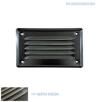 BLACK 100 x 165 mm  Metal Louvre Air Vent Grille Cover Metal Ventilation + Mesh