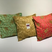"""Golden thread Embroidered Elephant Faux Raw Silk Dupion Cushion Cover 18"""" x 18"""""""