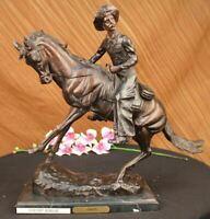 Signed Frederick Remington Solid Bronze Statue Vintage Art deco Sculpture GIFT