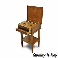 Antique Italian Marquetry Inlaid Flip Top French Styl Sewing Box Stand End Table