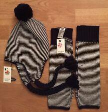 Crown & Ivy Women's Navy Striped Knit Pom Pom Hat & Arm Warmers NEW