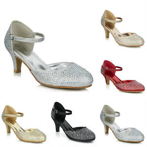 NEW SPARKLY DIAMANTE ANKLE STRAP LOW HEEL MARY JANE EVENING PARTY SHOES SIZE 3-8