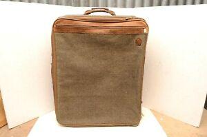 """Vtg Hartmann Tweed Luggage Rolling Wheeled Suitcase 25"""" Leather belt bag upright"""