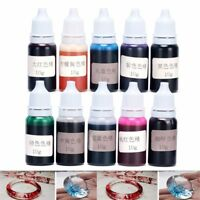 10g 10Bottles Epoxy UV Resin Dye Colorant Resin Pigment Mixed Color Craft New